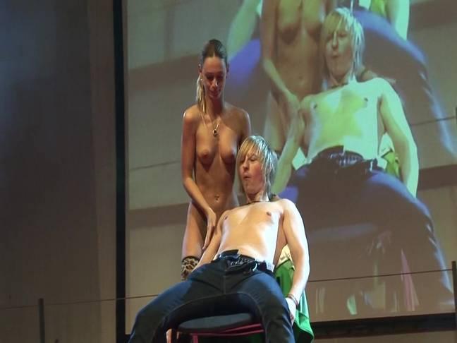 Slender Blonde Girls Live Sex Show